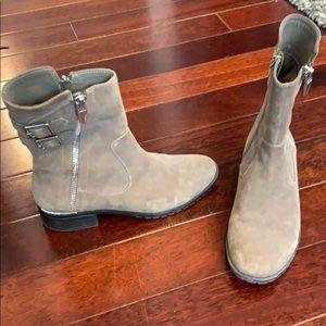 Calvin Klein kaki buckle and zipper booties